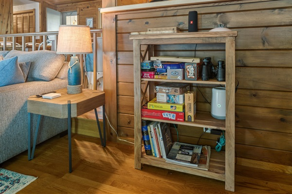 Choose a game from the bookcase for an evening of fun or for rainy days indoors.