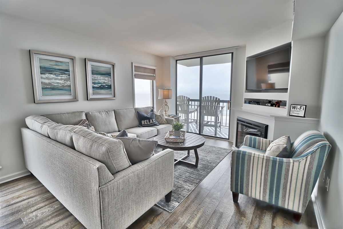 Fire Place TV and ocean view