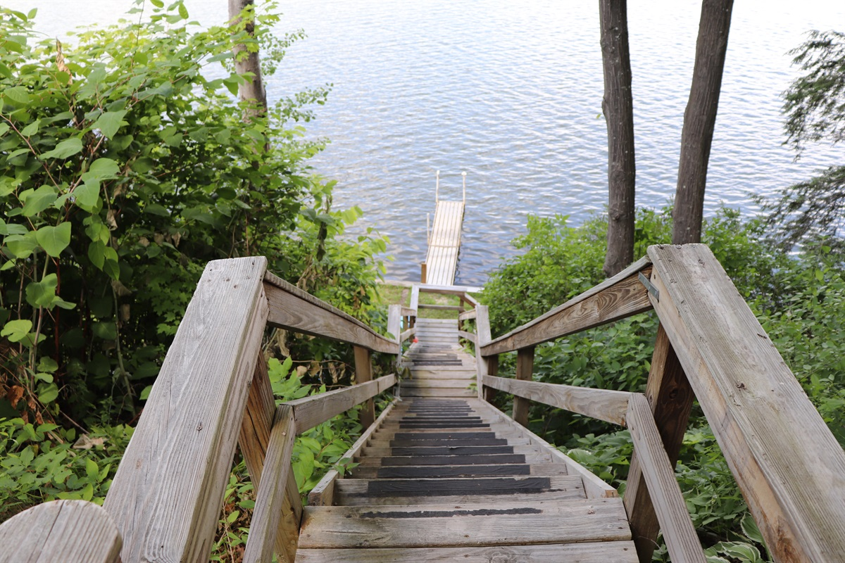 Stairs leading down to the waterfront