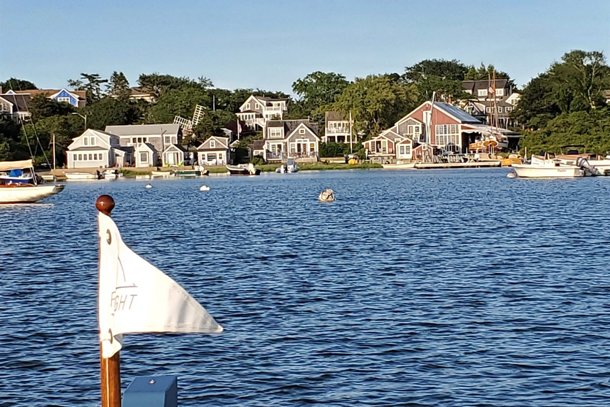 Mill Pond looking to shore at the Mill Pond Cottage Compound and First Light Boatworks _