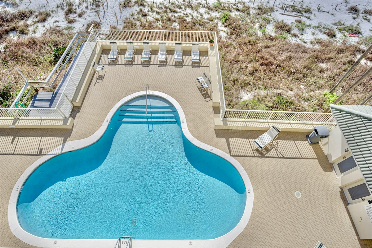 balcony view to heated pool