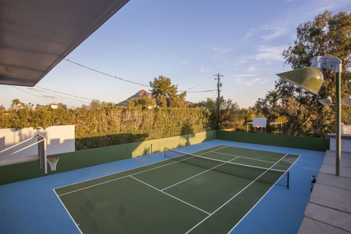 Enjoy a game of tennis or basketball on our tennis Court and full basketball court!