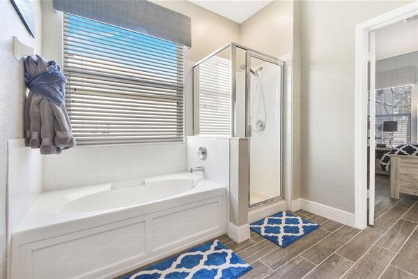 Large Soaking Tub, Separate Shower