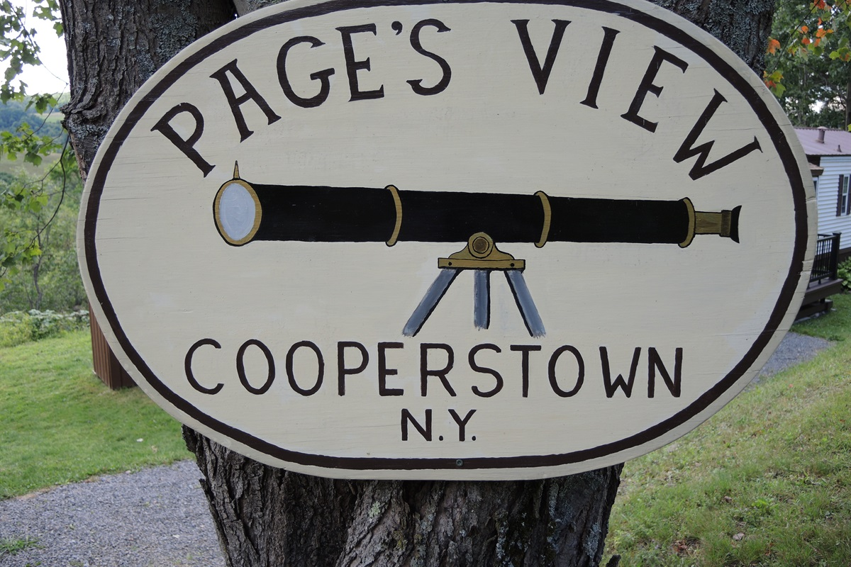 Pagey's View sign at roadside