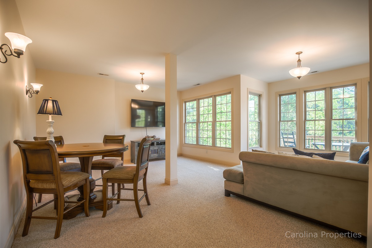 Lower level family room offers comfort and fun