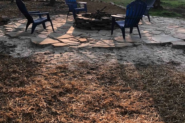 One of the fire pit areas on the property