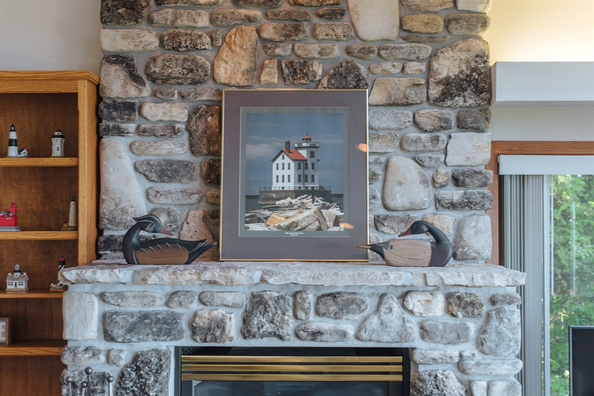 Gas Fieldstone Fireplace