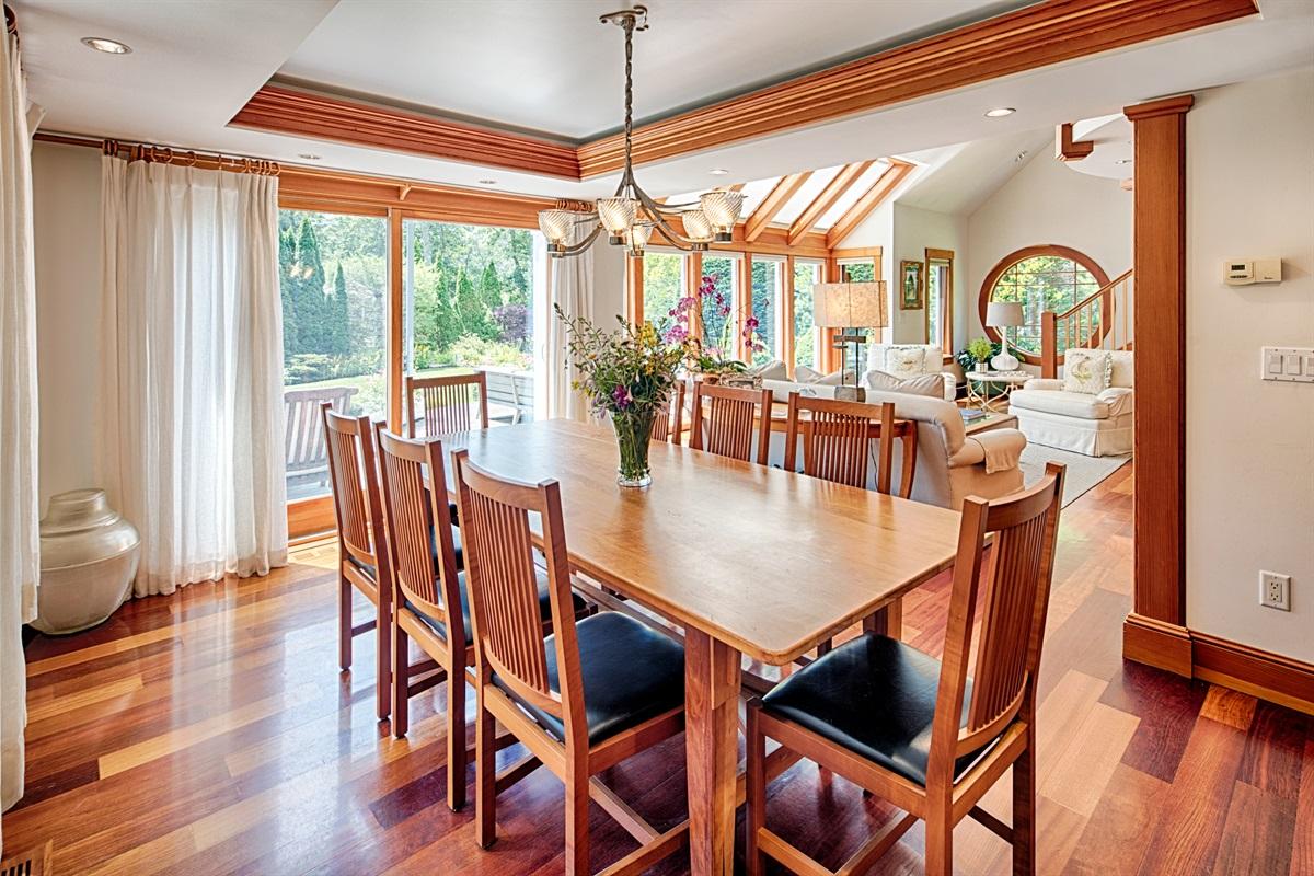 Dining Room, Custom Made Table & Light Fixture, Seats 8
