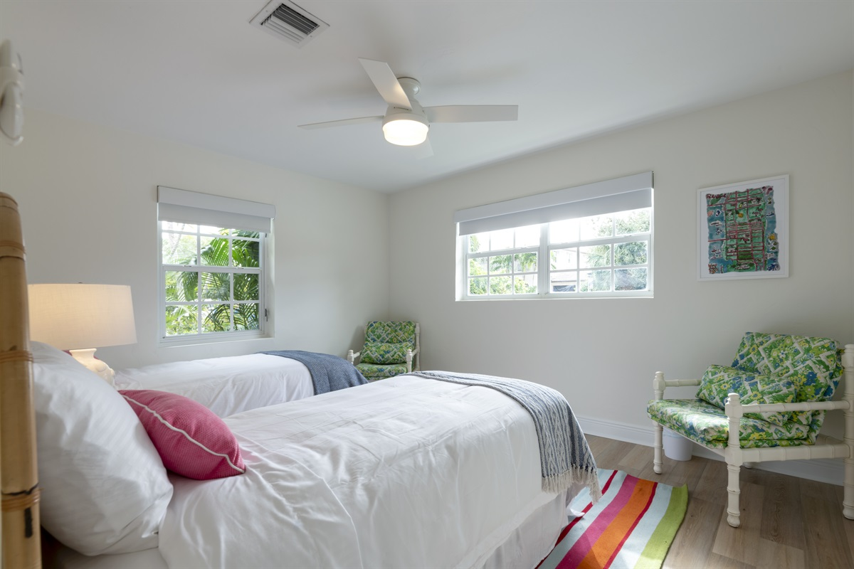 3rd Bedroom with 2 twin beds and automatic room darkening shades.