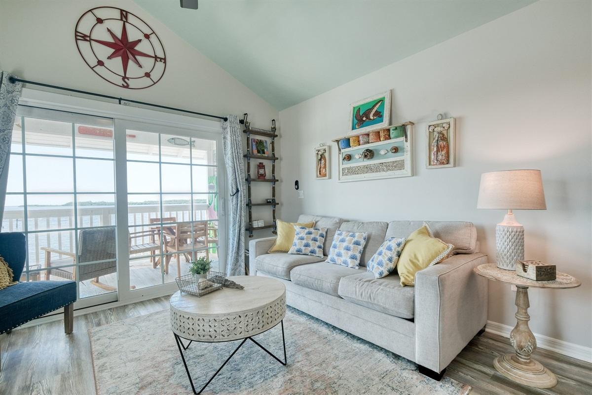 Living area has a queen sofa bed