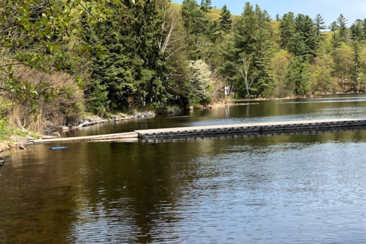Great dock for fishing off of at the Algonquin Highlands Trail site 2 kilometers from the cottage