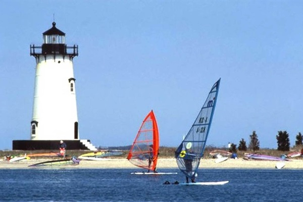 Windsurfers at nearby lighthouse beach