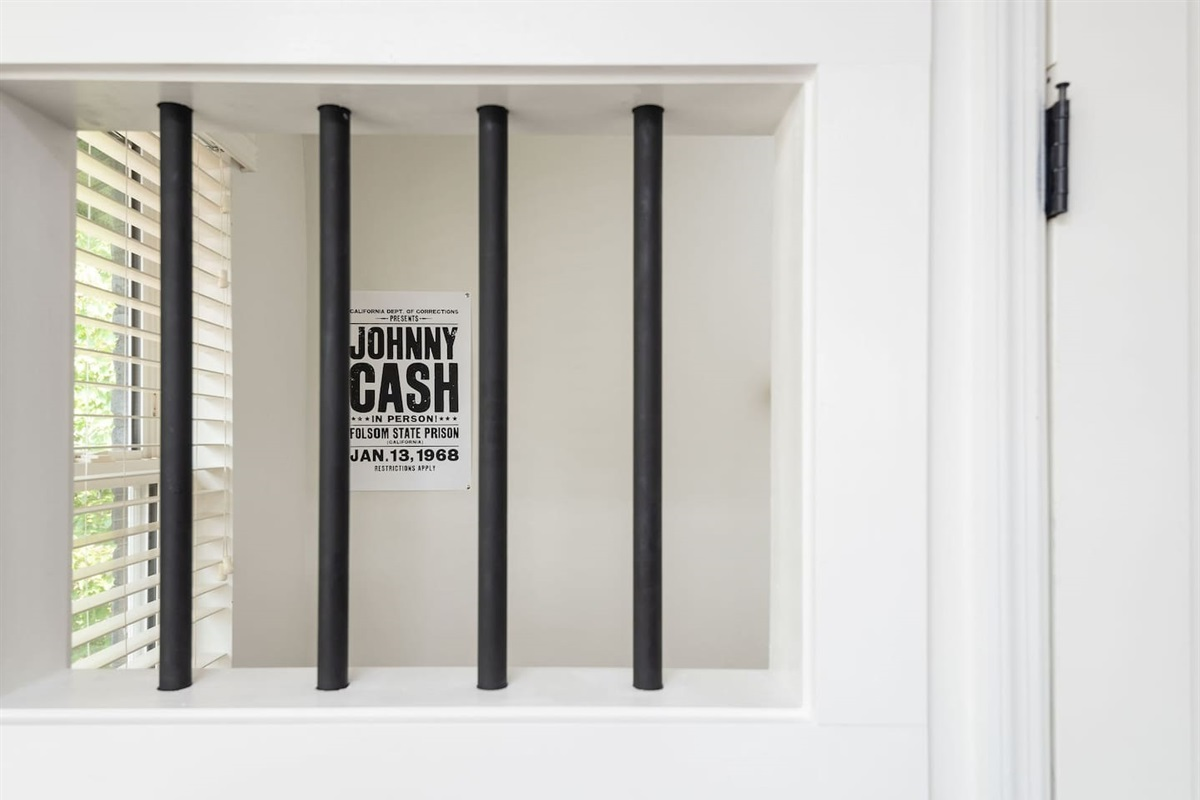 """Photo opp!!  Snag a pic in the """"jail cell"""" to commemorate your stay in """"The Folsom!"""""""