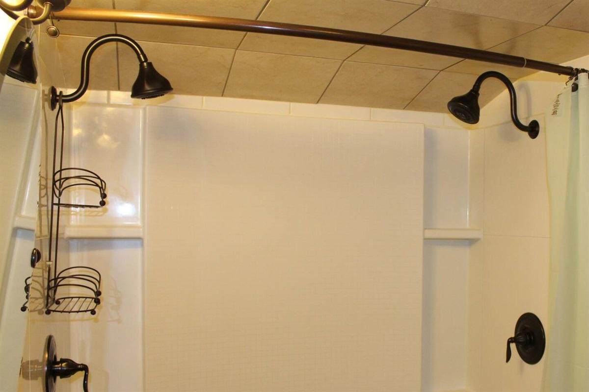 """Jack and Jill"" shower in full bathroom #1 on main floor, between bedrooms #1 and #2"