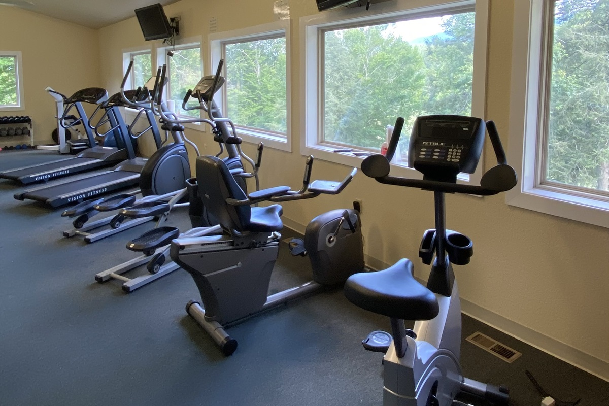 The gym at Wild Laurel can be accessed by you during your stay