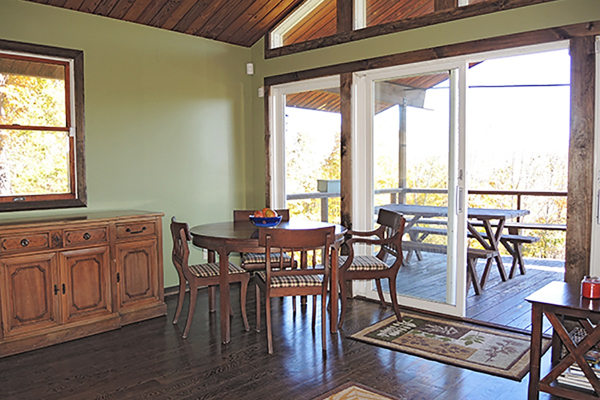 Dining area with a view and access outside!