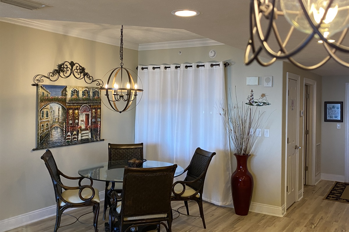 Dining area with new lighting