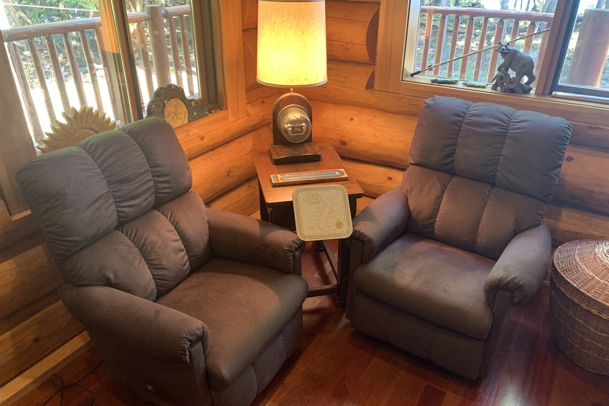 Cribbage Corner!! In the most comfortable leather chairs overlooking the bay!