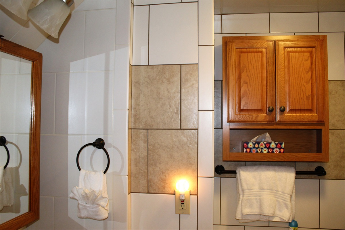 Bathroom includes hair dryer, towels and in-shower trio shampoo dispenser