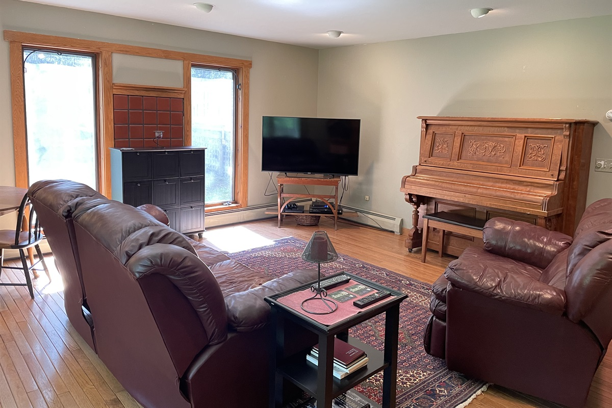 Large living room with a Smart TV
