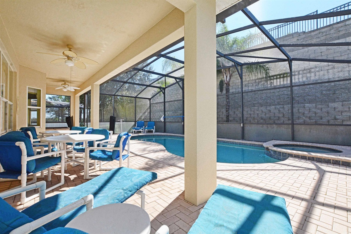 South facing saltwater pool with plenty of seating.