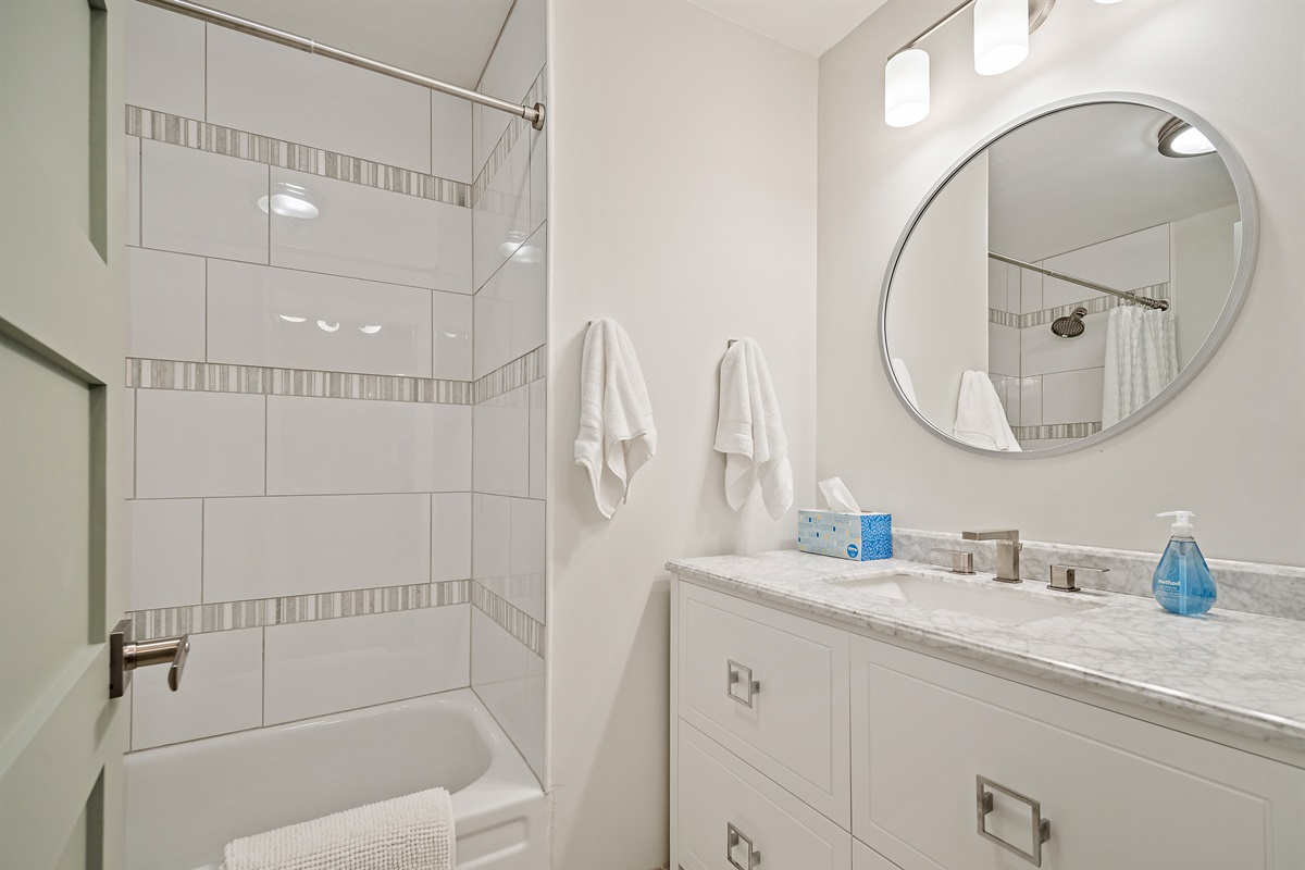 The hall bath includes a tub/shower, along with shampoo, soap and blow dryer. Just bring your essentials - we've thought of the rest.