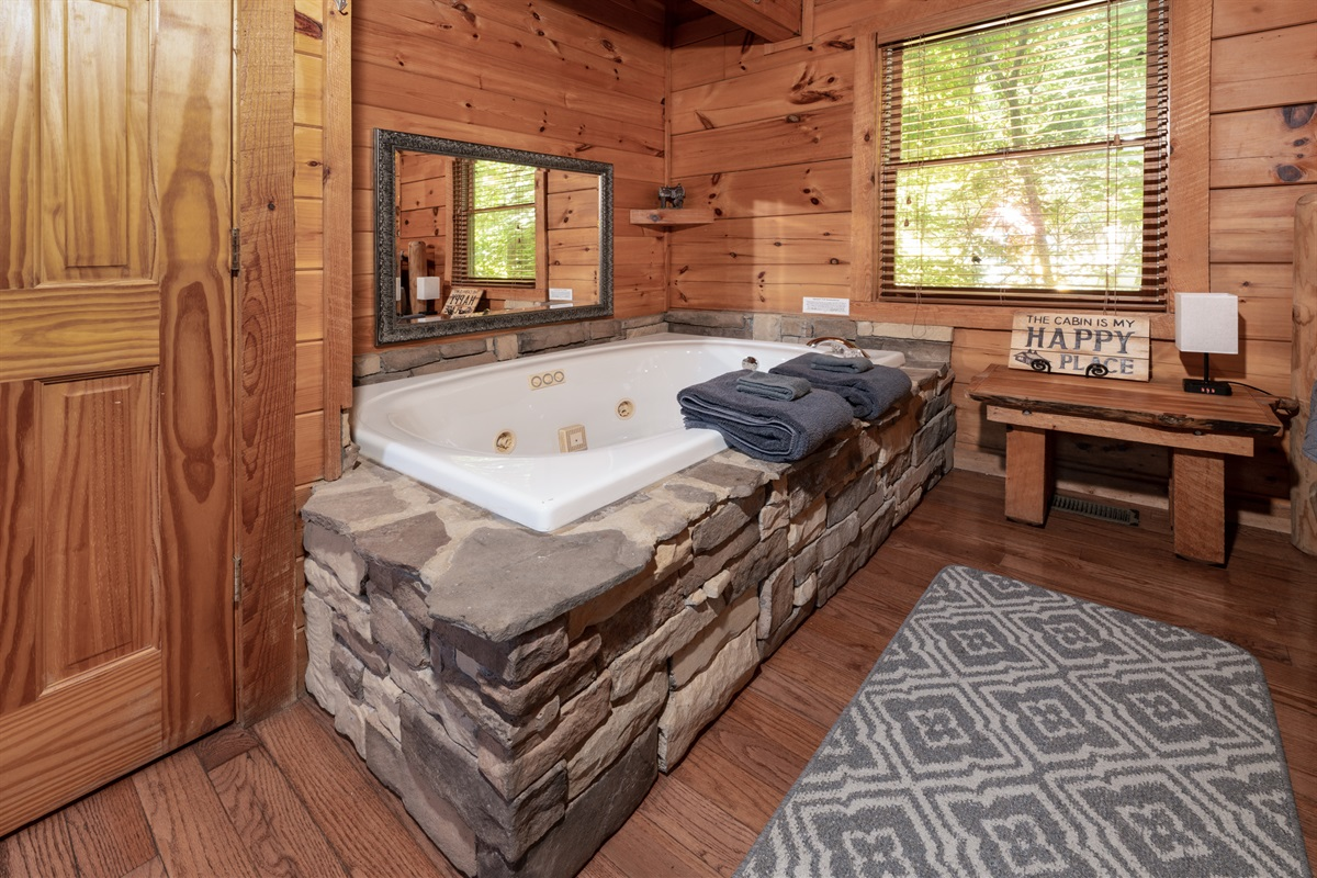 Large jetted tub with room for two
