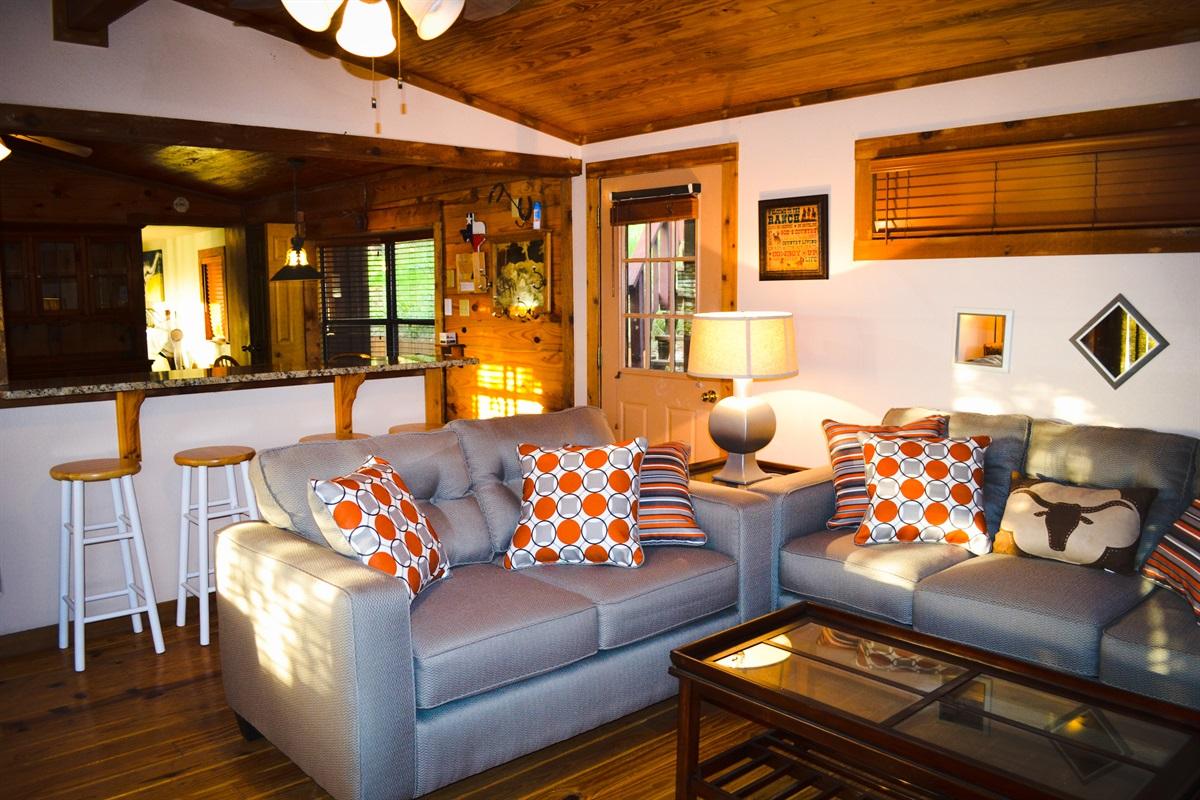 Lower cabin living room (w/ sleeper sofa)