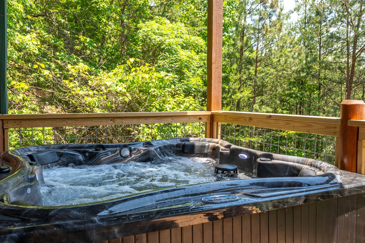 Relax in the New 8 person Hot Tub surrounded by nature.  New Hog Wire Fencing allows for the an unobstructed view of the mountain.