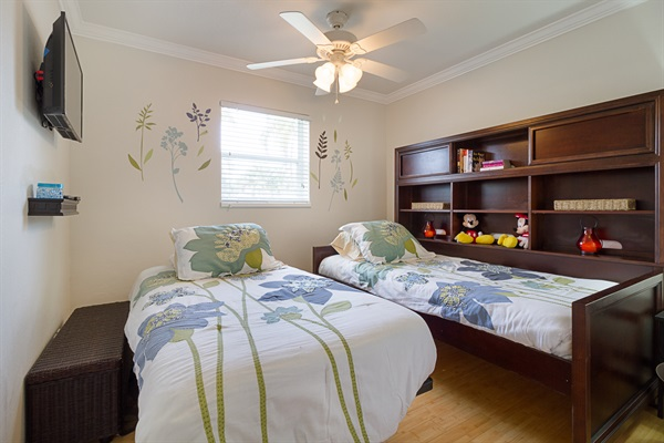 Children's Bedroom. Two Twin Beds That Can Connect To A Queen Size Bed