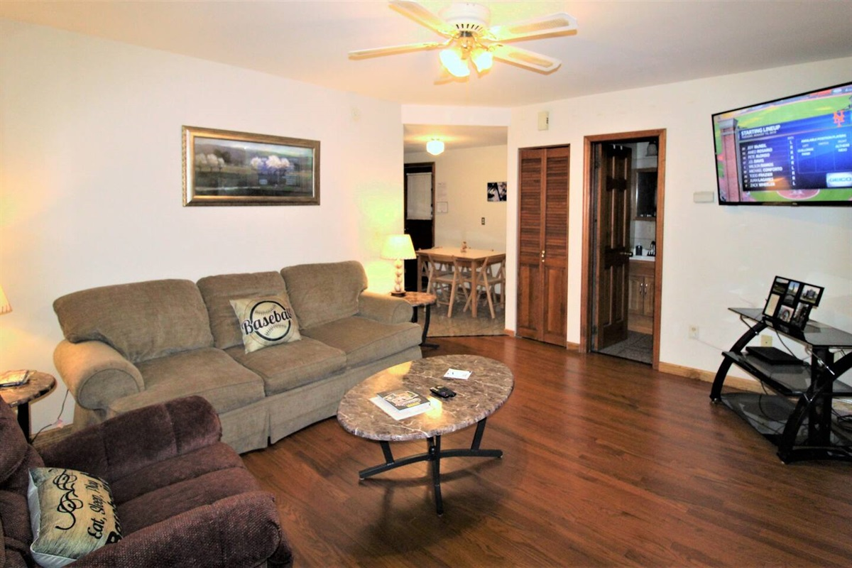 "Spacious living room with 55"" (or larger) smart Roku TV.  Gather the family and root for your favorite team.  New hardwood floors."