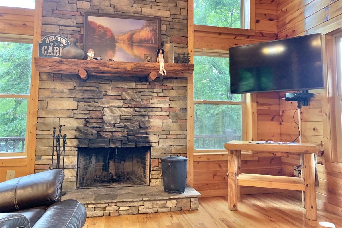 Stone Fireplaces & Large Flat Screen TVs