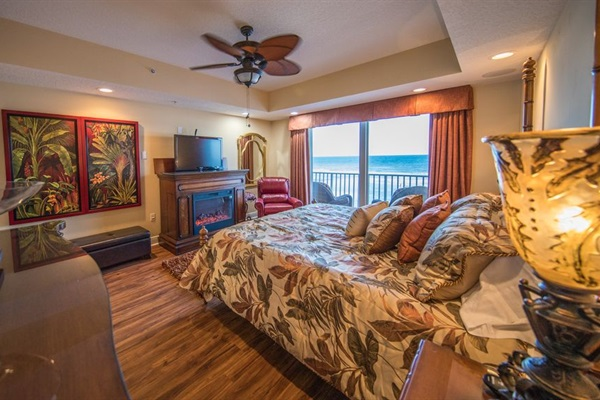 Master Suite with oceanfront balcony, TV/Fireplace, King SleepNumber bed