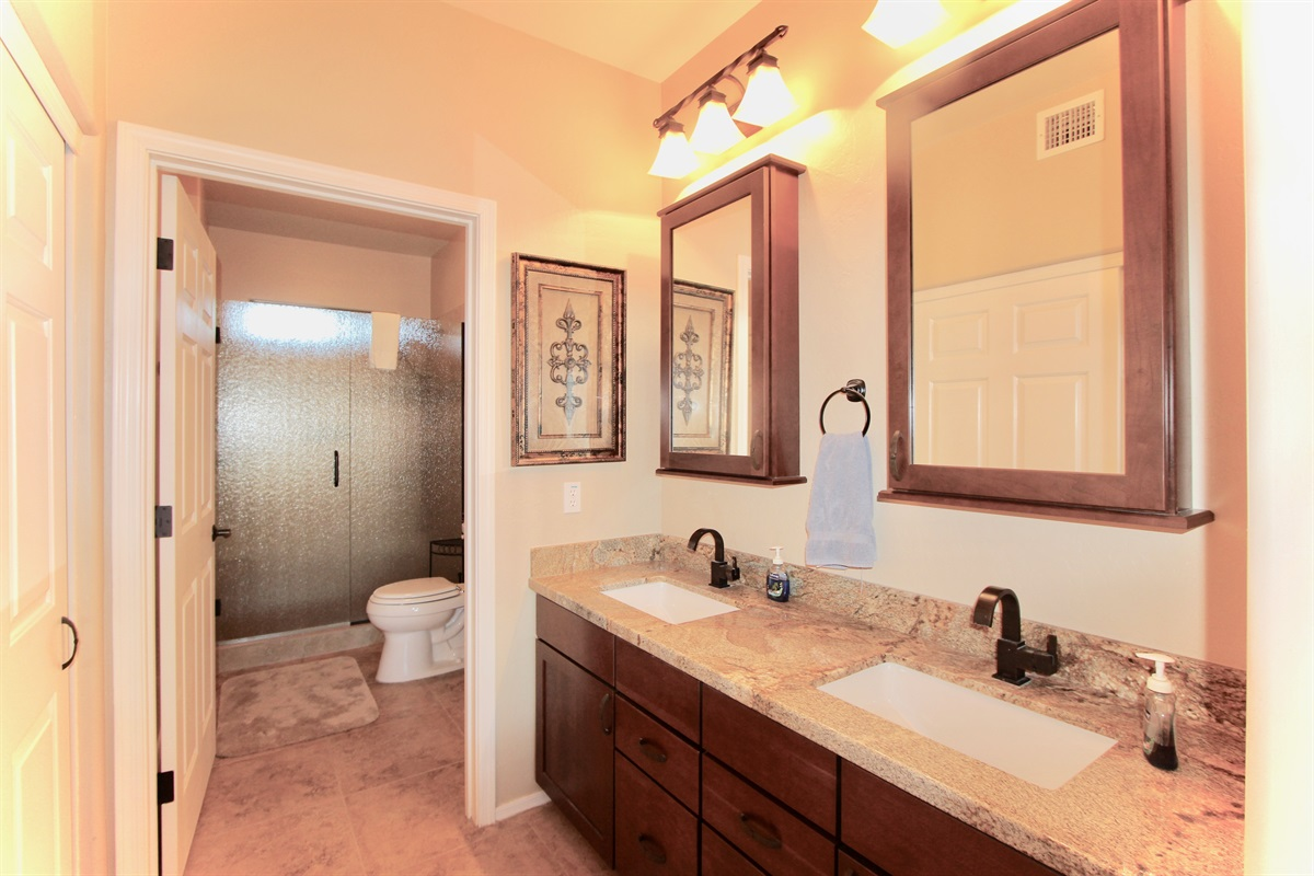 Master bathroom, walk in shower, double sinks.