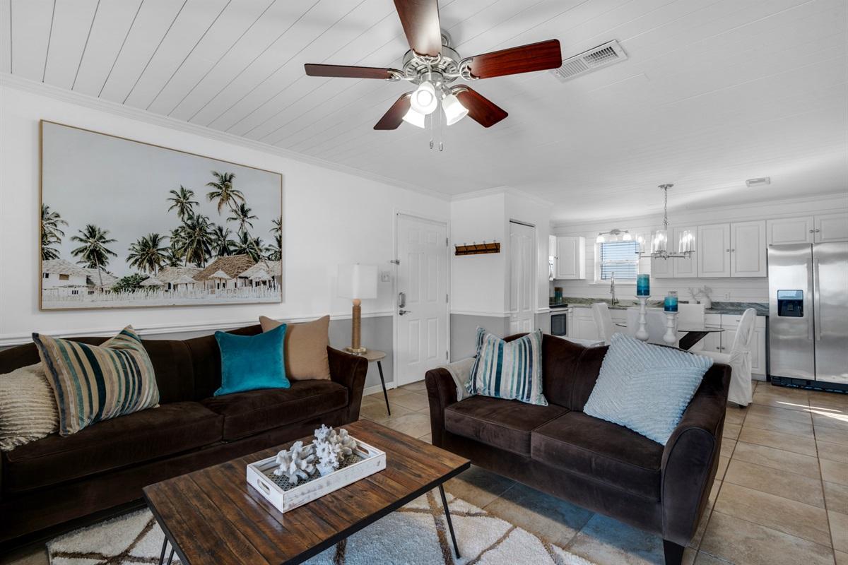 Coastal chic furnishings & decor throughout