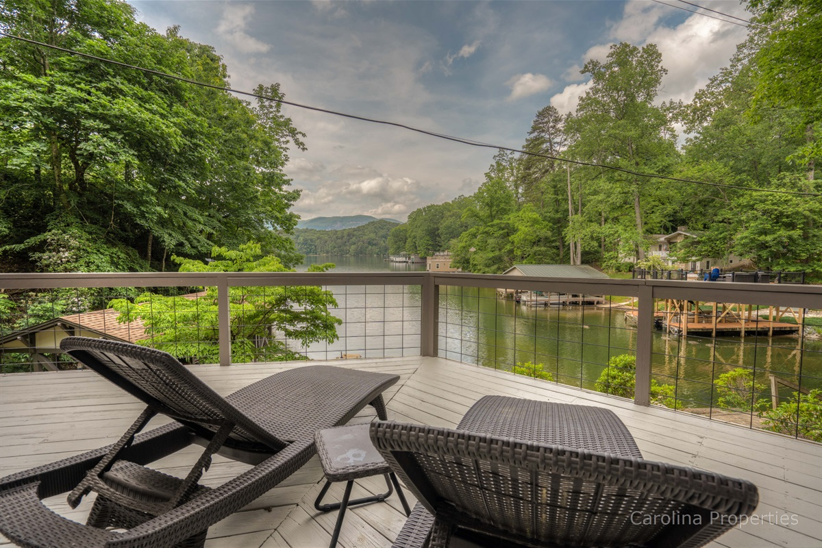 Additional view of seating on deck overlooking Lake Lure