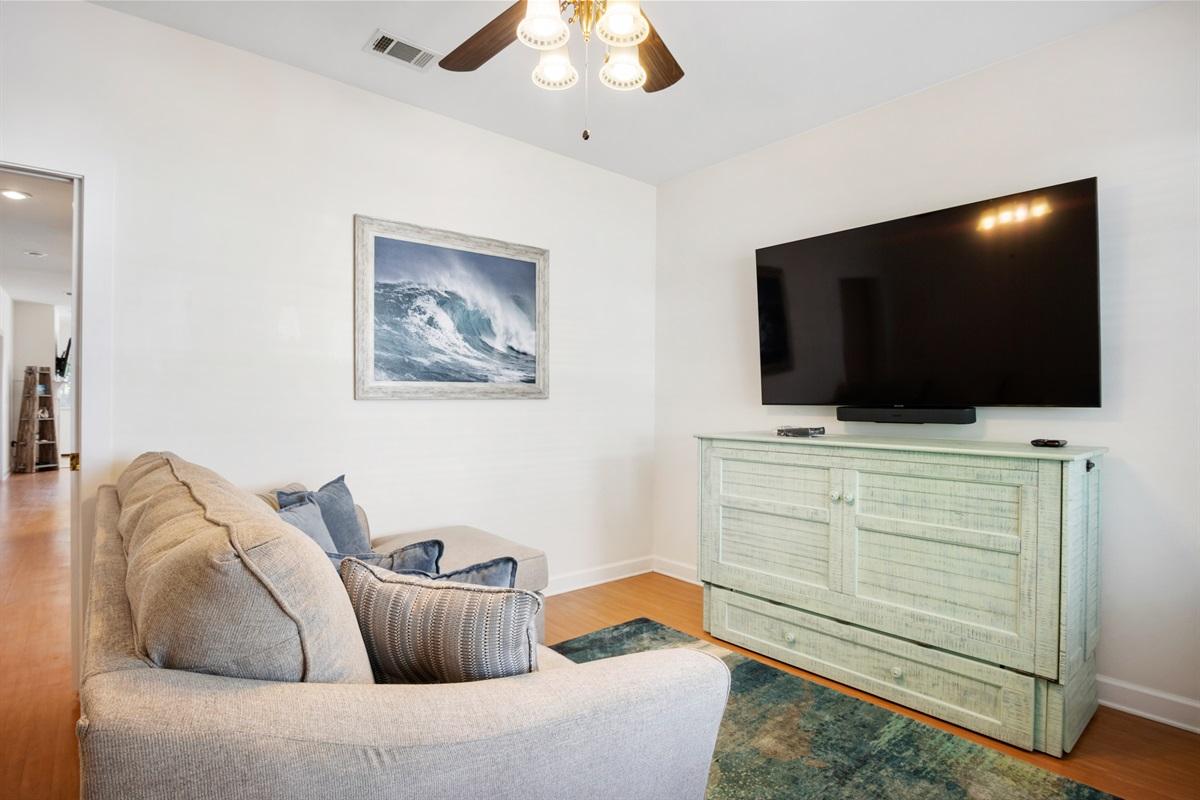 bonus room with sofa and murphy bed