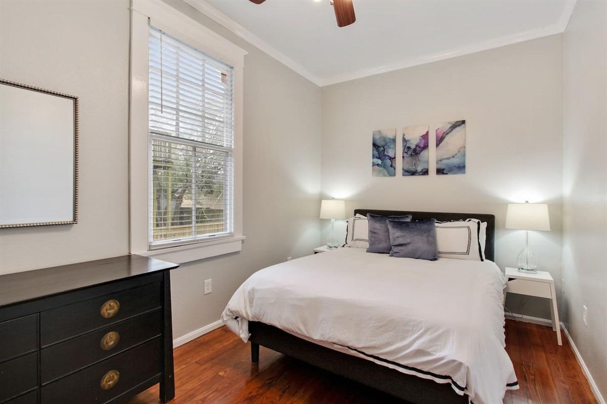 """Bedroom 2. Queen bed. Memory foam gel mattress. Not pictured: 40"""" antenna tv & closet."""