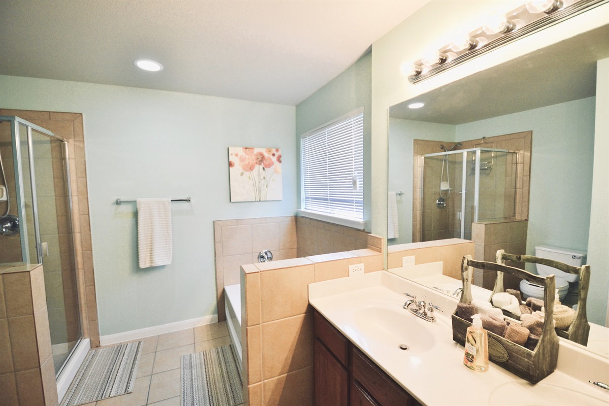 Master bath w/ his/her sinks, relaxing tub and separate shower