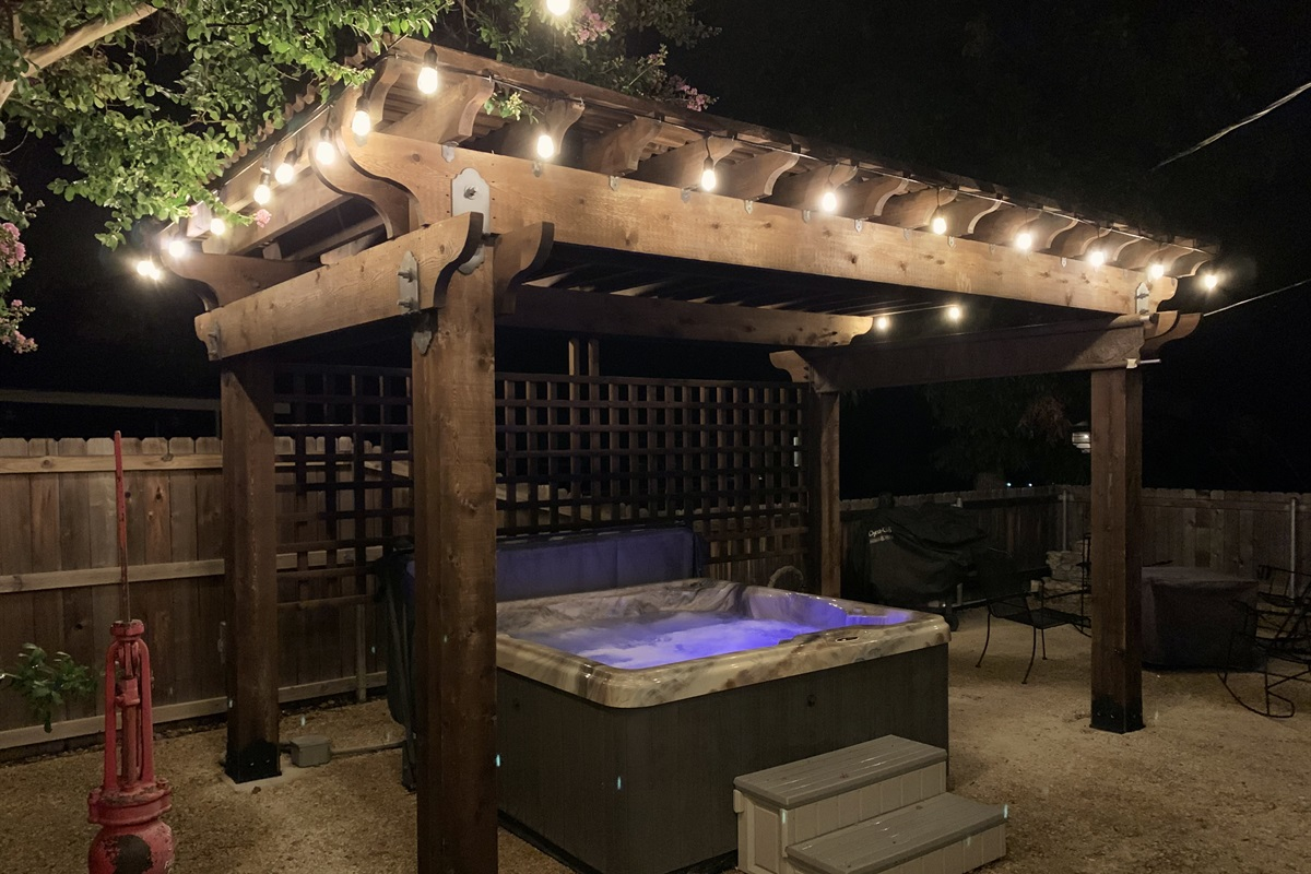 The outdoor space is great at night too! Imagine soaking in the hot tub after a long day of wine tasting