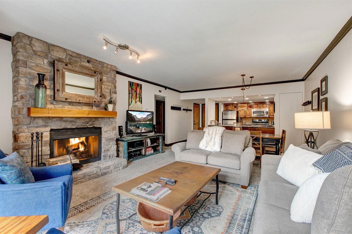 Living area - Fireplace, TV