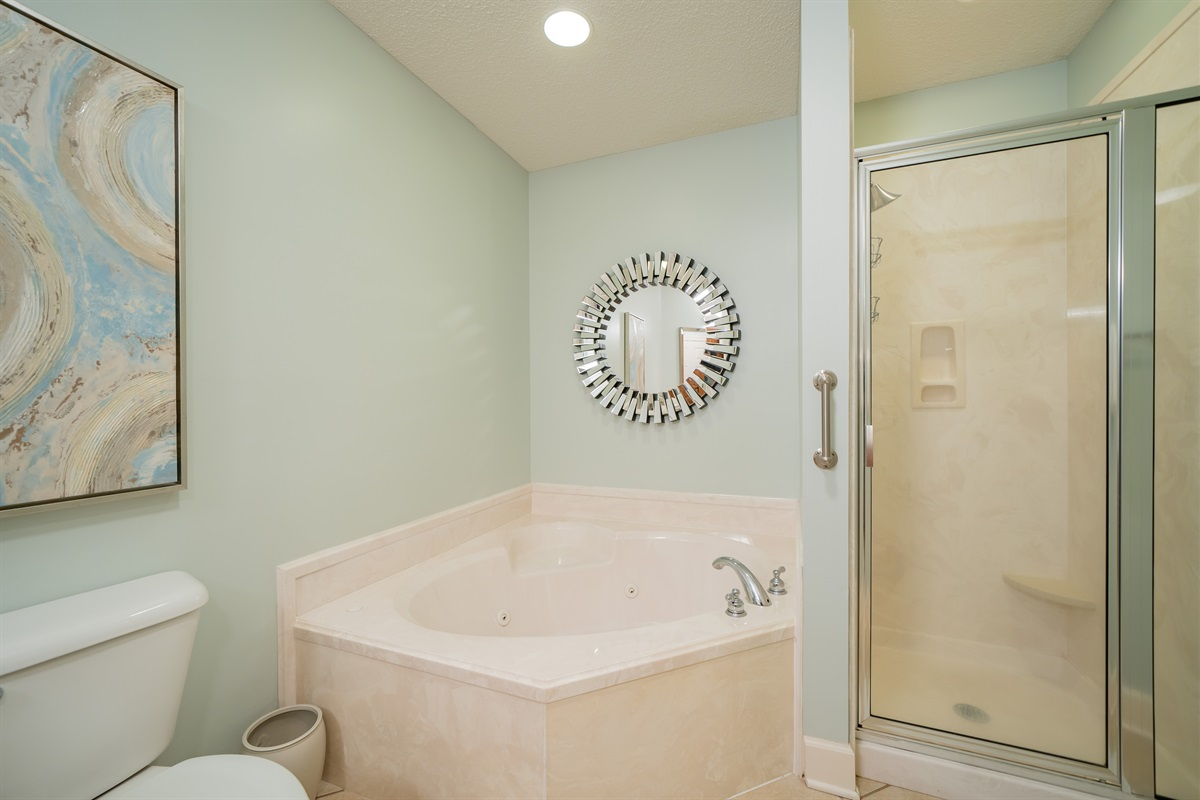 Jacuzzi tub and shower in master bath!