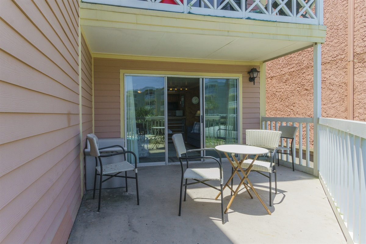 Balcony with seating for outdoor dining