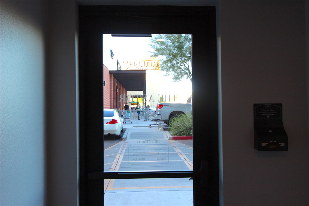 Out this door to Trader Joes.