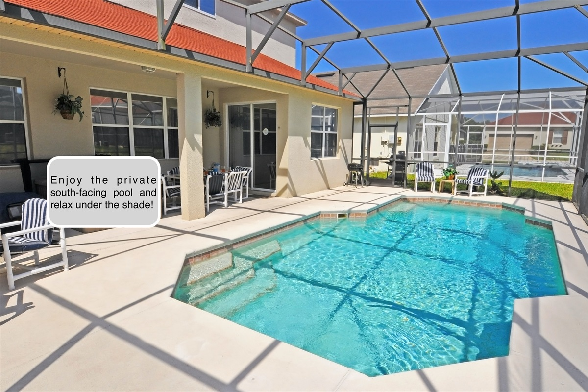 Private south-facing Pool with child safety pool fence