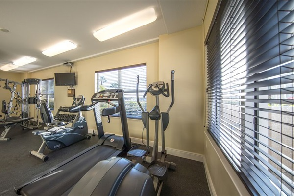 Exercise room in clubhouse, first floor.