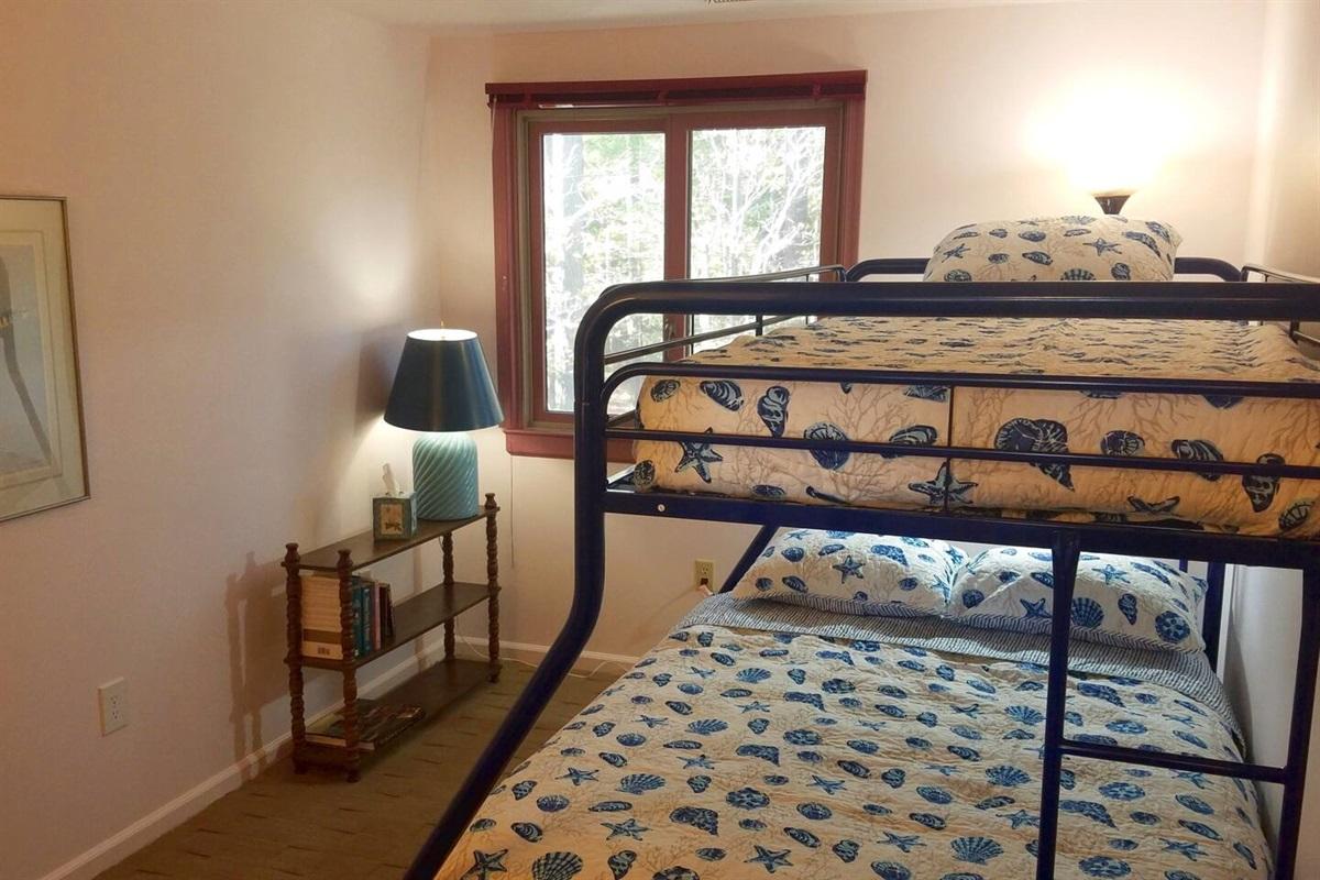 Bunkroom #1 Upstairs.  Twin mattress on top, Double on bottom.