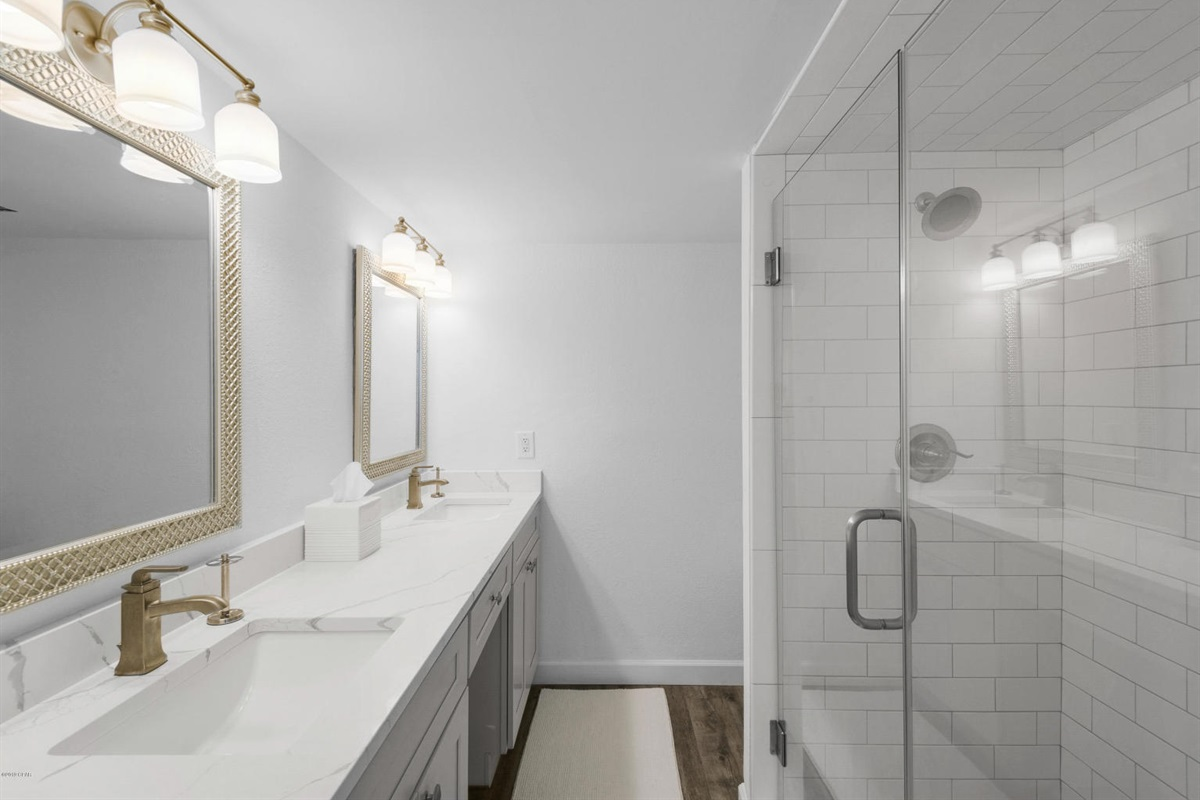 Master Bath with two sinks and walk in shower