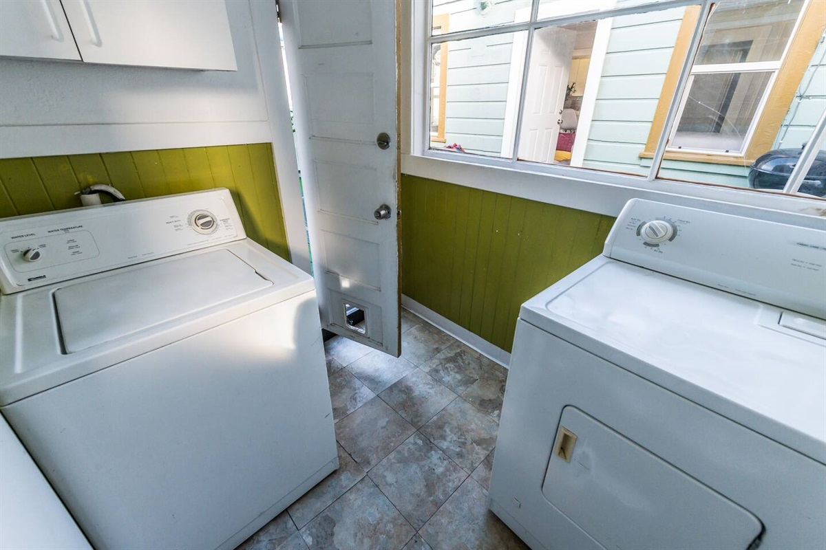 Washer/dryer onsite shared with studio guests