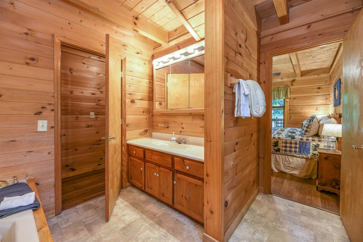 Main floor bathroom has a tub/shower combo.